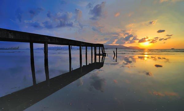 Malaysia Penang sunrise at jetty