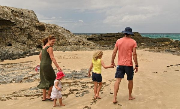 family beach fun budget travel idea
