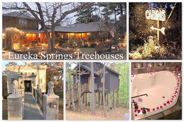 Romantic getaways Arkansas Eureka Springs Treehouses
