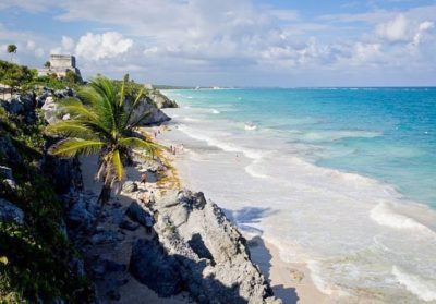 Beach and Maya ruins in Tulum Mexico